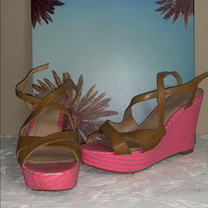 Tommy pink stripped wedge